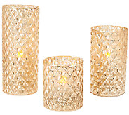 Set of 3 Diamond Pattern Vintage Glass Candles by Valerie - H204879