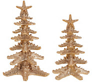 Set of 2 Glittered Starfish Trees by Valerie - H205379