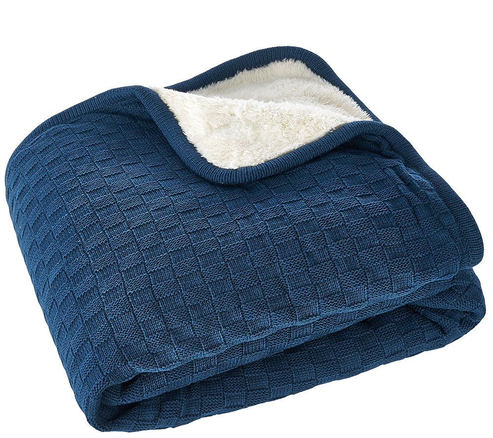 ED On Air Checkered Basket Knit Throw by Ellen DeGeneres