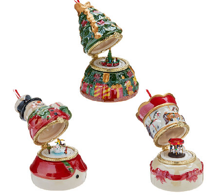 Mr. Christmas Set of 3 Porcelain Music Ornaments w/ Gift ...