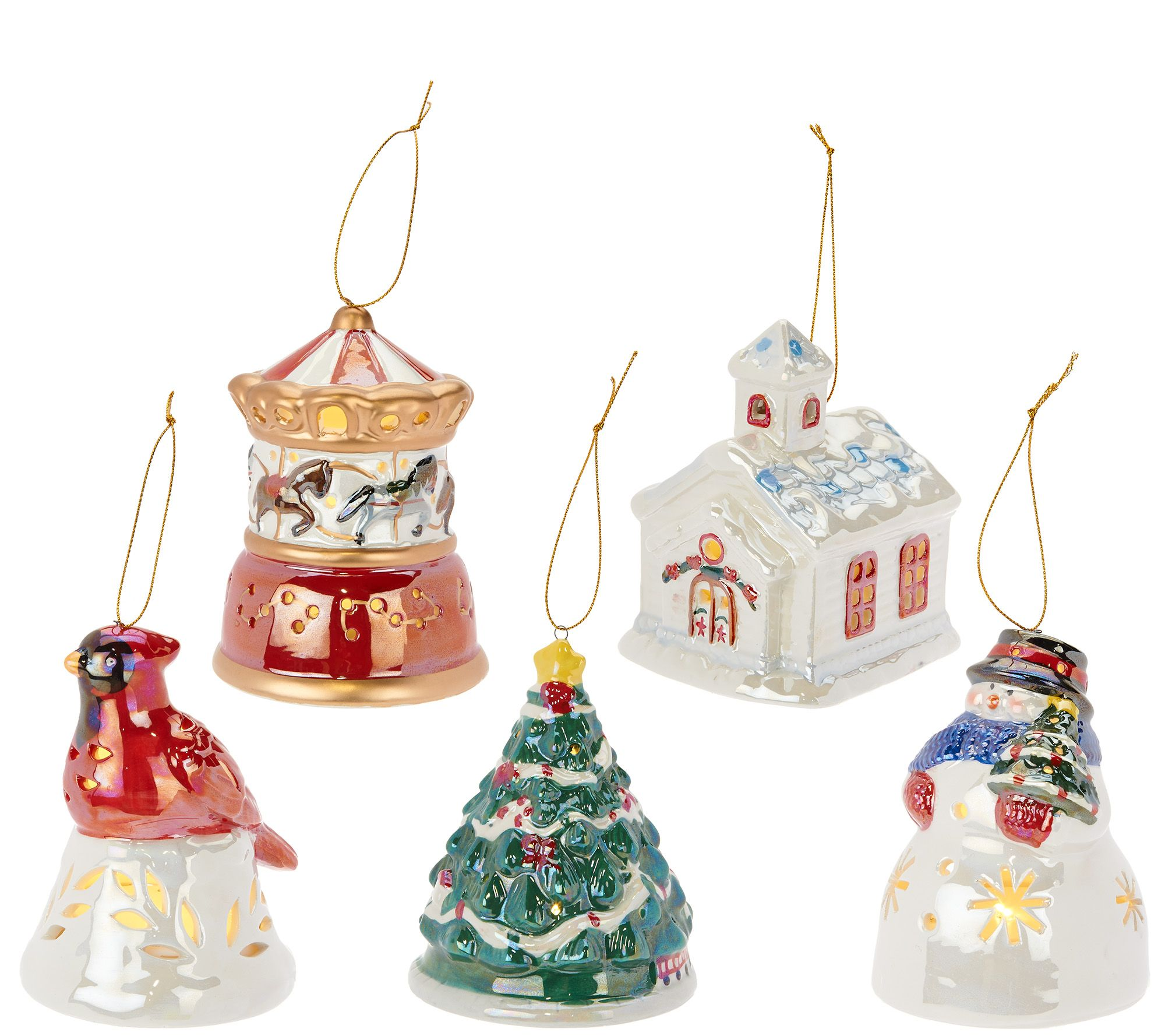 Mr. Christmas S/5 Porcelain Illuminated Ornaments With
