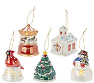 Mr. Christmas S/5 Porcelain Illuminated Ornaments with Gift Bags - H208479