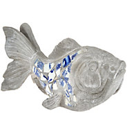 Indoor/Outdoor Blue and White 19 Mosaic Fish - H210879