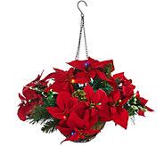 As Is Bethelehem Lights Poinsettia Hanging Basket - H210979