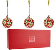 Lenox S/3 Hand Blown Art Glass Ornaments with Gift Boxes - H211879
