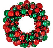 As Is 18 Ornament Wreath w/ Pine & Berry Accents by Valerie - H214379