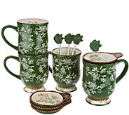 Temp-tations Floral Lace Set of 4 Mugs with Lid-It & Spoon - H214679
