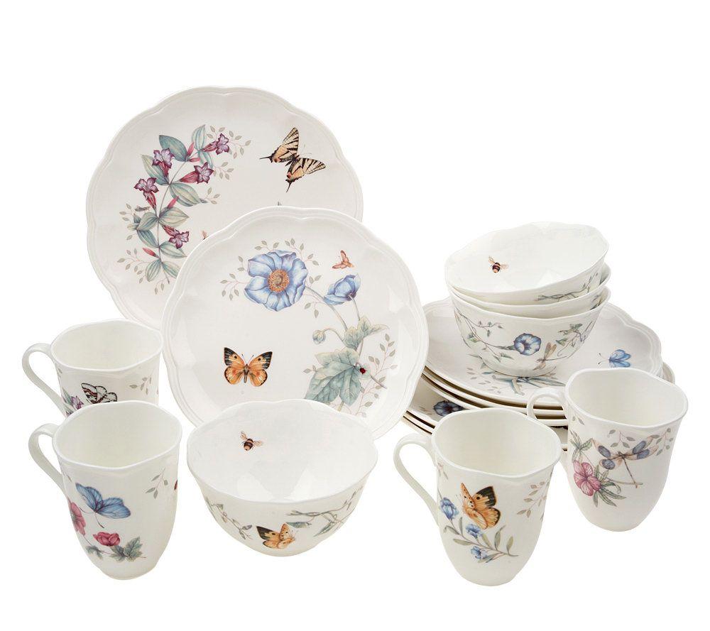 lenox butterfly meadow 16pc porcelain dinnerware set page 1 u2014 qvccom - Lenox Dinnerware