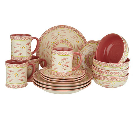 Tations hand painted 16 pc service for 4 dinnerware set qvc com