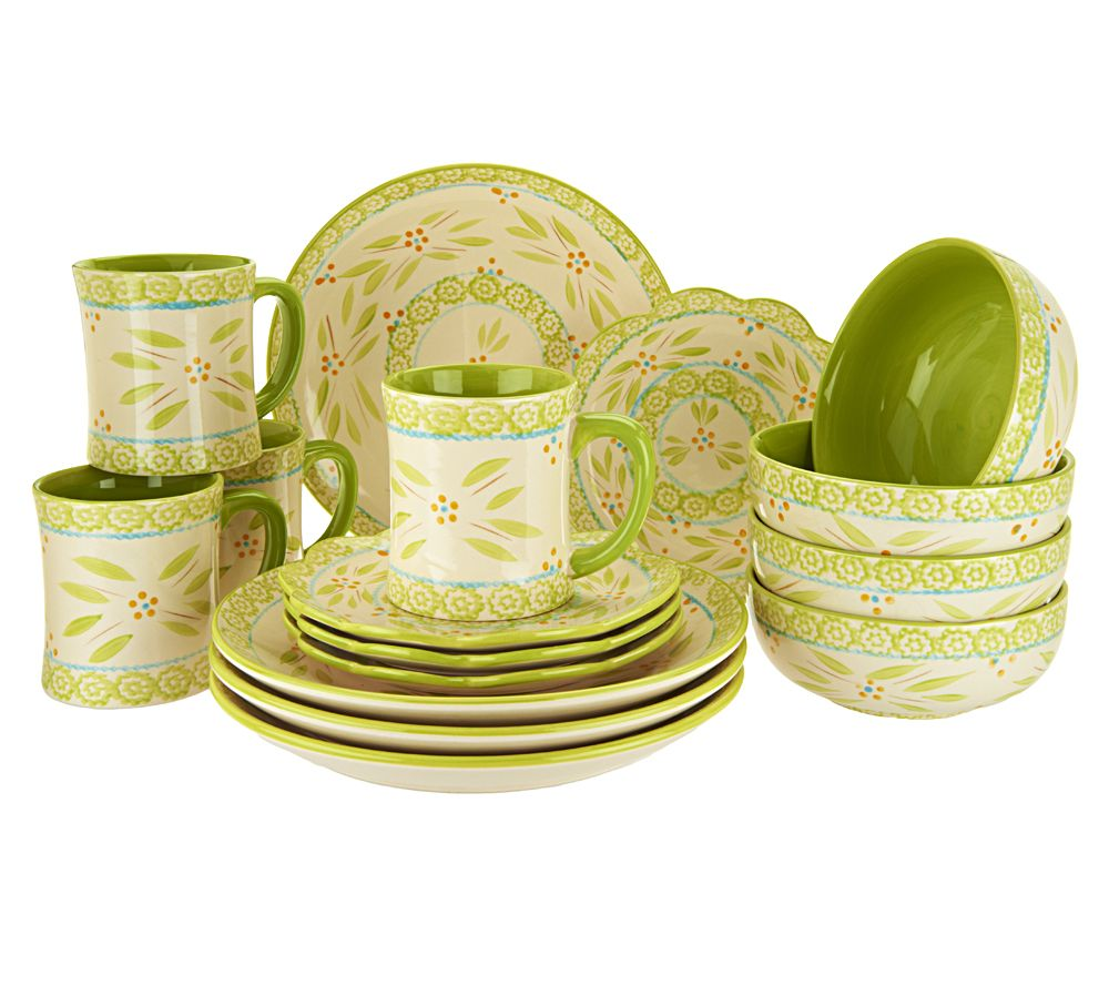 Temp Tations Hand Painted 16 Pc Service For 4 Dinnerware Set   Page 1 U2014  QVC.com