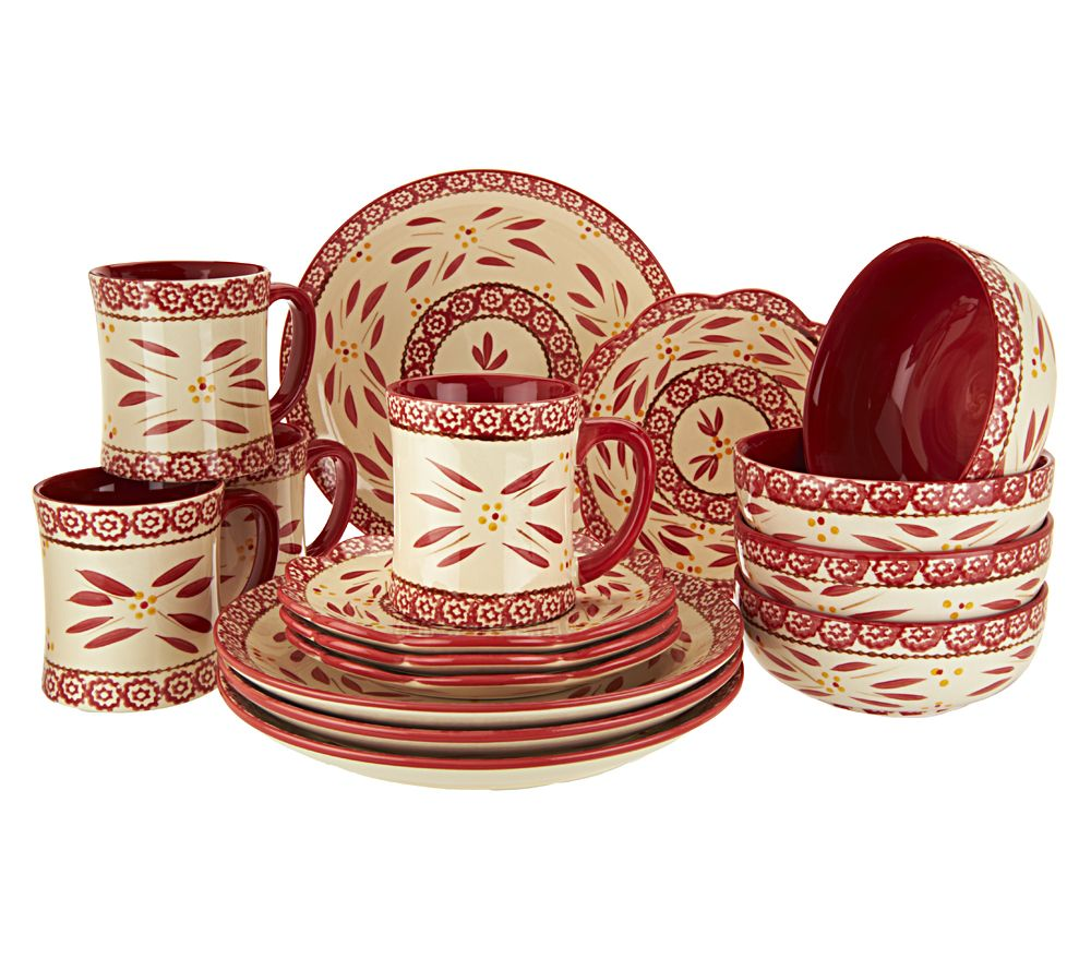 Temp-tations Hand-Painted 16-pc Service for 4 Dinnerware Set ...
