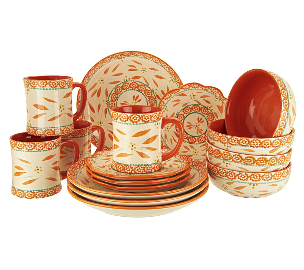 Temp Tations Hand Painted 16 Pc Service For 4 Dinnerware Set