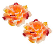 Set of 2 Candle Impressions Painted Flower Flameless Candles w/Timer - H202280