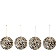 Set of 4 6 Glittered Ornate Scroll Sphere Ornaments - H209080