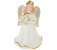 Lenox Porcelain 4 Angel Monogram Ornament w/ 24K Gold Accents - H212480