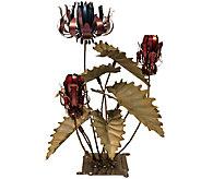 Desert Steel Passion Flower Garden Statue and Tiki Torch - H284580