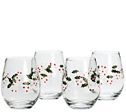 Pfaltzgraff Winterberry Set of 4 Stemless WineGlasses - H284880