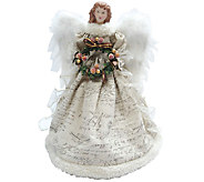 Ivory Antiqued Scroll Angel Tree Topper by Santas Workshop - H285180