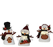 Set of 3 11 Snowmen with LED Lights by SantasWorkshop - H288980