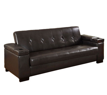 Logan faux leather futon sofa bed qvccom for Leather futon mattress cover