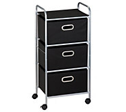 Honey-Can-Do Three-Drawer Fabric Storage Cart -Black - H367380