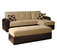 Lakeland Microfiber & Leather Bycast Storage Sofa w/Ottoman - H187781