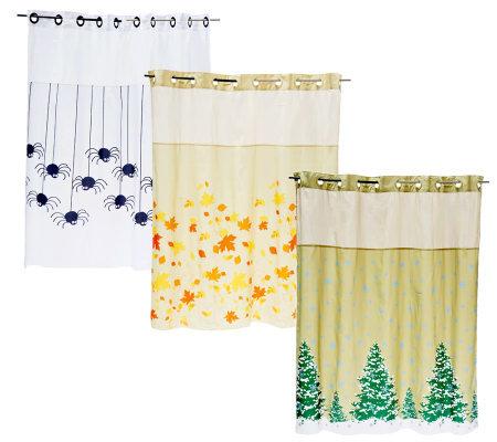 Hookless Set Of 3 Seasonal Shower Curtains Qvc Com
