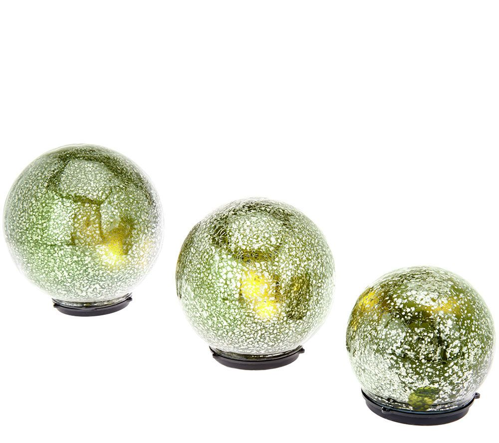 """Qvc Outdoor Wall Lights: Set Of 3 Lit """"Color Within"""" Mercury Glass Spheres By"""