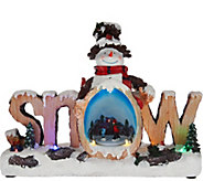 Plow & Hearth Lit Words with Holiday Scene and Rotating Figures - H208581