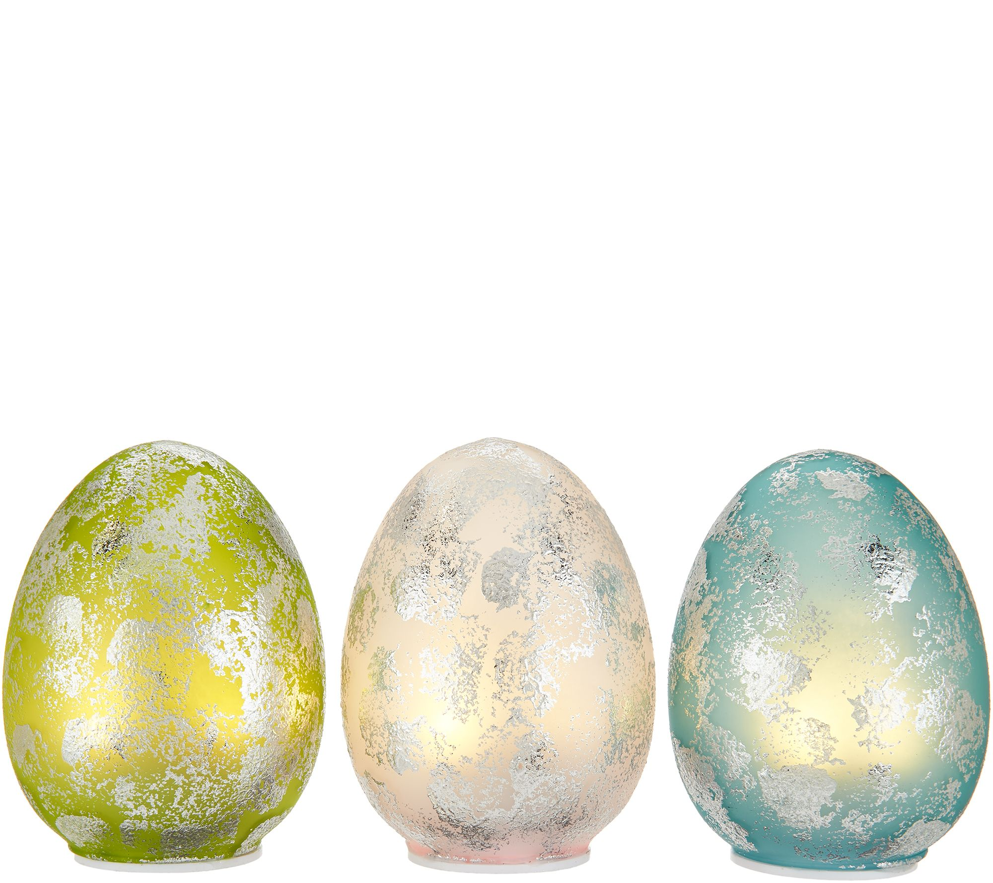 Spring easter dcor qvc set of 3 illuminated foiled finish glass eggs by valerie h213781 negle Choice Image