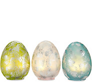 Set of (3) Illuminated Foiled Finish Glass Eggs by Valerie - H213781