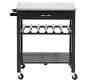 Quebec Black Wheeled Modern Kitchen Cart with Granite Top - H359681