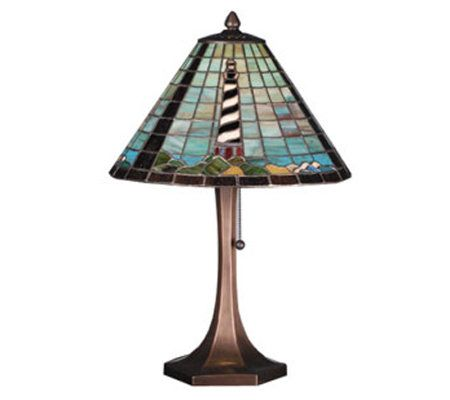 Tiffany style lighthouse table lamp page 1 qvccom for Tiffany floor lamp qvc