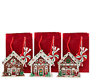 Set of 3 Mini Gingerbread Houses with Gift Bags by Valerie - H205282