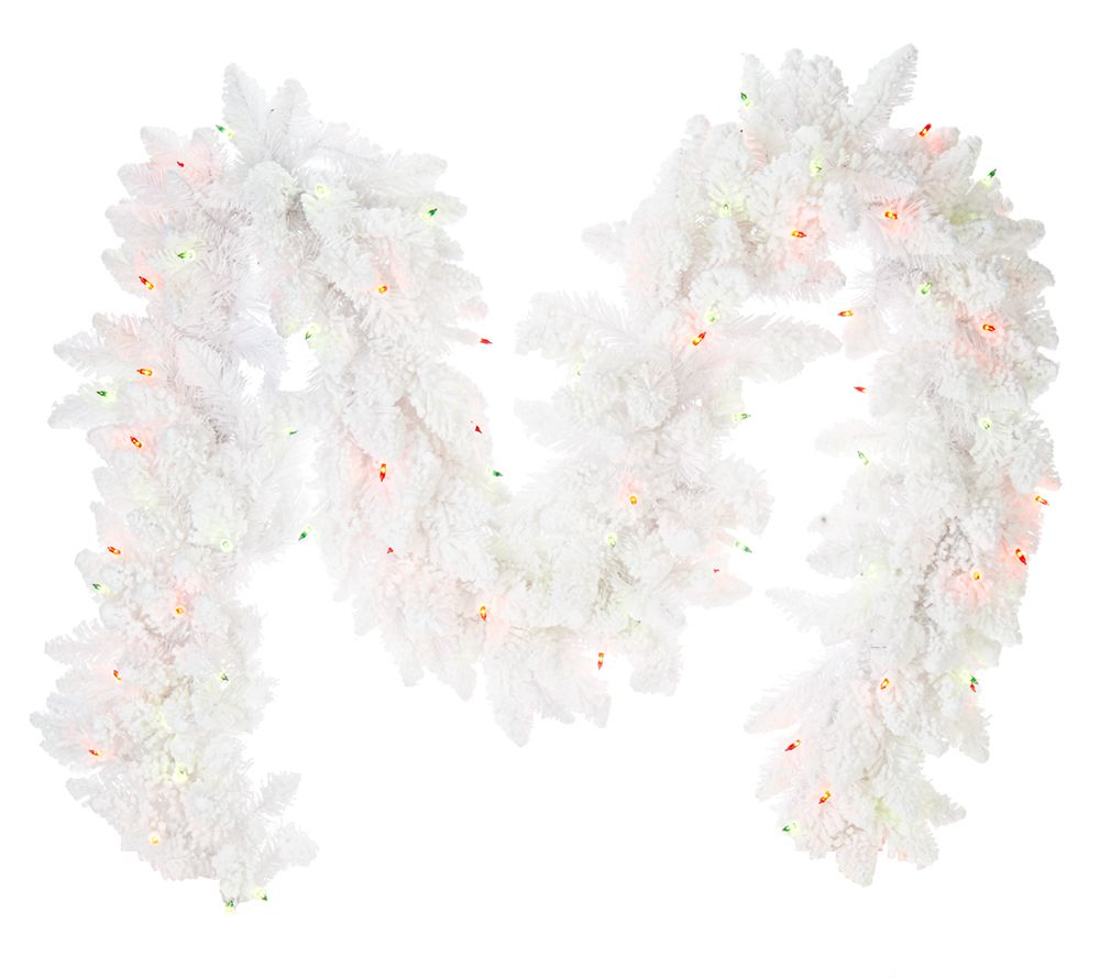 Bethlehem lights wreath battery operated - Bethlehem Lights 6 Flocked Bedford Spruce Plug In Garland Page 1 Qvc Com