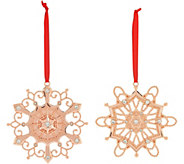 Lenox Set of 2 10K Gold Plated Snowflake Ornaments with Crystal Gems - H208482