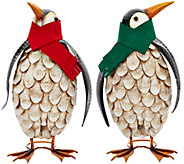 Plow and Hearth Outdoor/Indoor Set of 2 Penguins with Scarves - H208782