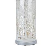 Illuminated Mercury Glass Pillar with Holiday Scene by Valerie - H209282