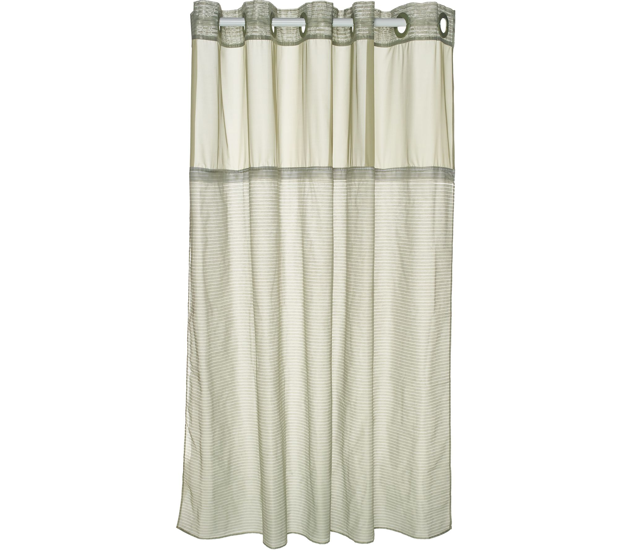 U shaped shower curtain rail b and q - Hookless Luxe Stripe 3 In 1 Shower Curtain H213482