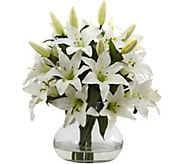 Large Lily Arrangement with Vase by Nearly Natural - H295682