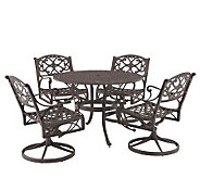 Home Styles Cast Aluminum 48 Round Table w/4 Swivel Armchairs - H176583