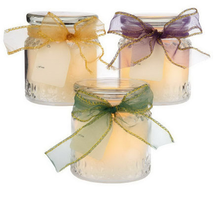 "CandleImpressio Set of 3Scented 4"" Flameless Jar Candles with Timers"