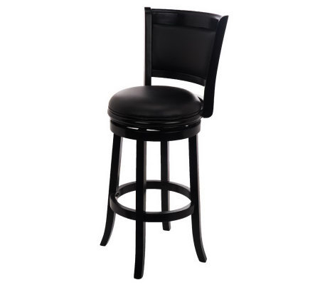 Home Reflections Swivel Bar Stool With Faux Leather Qvc Com