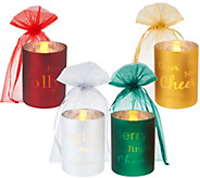 Set of 4 Glass Words to Live By Flameless Candles w/ Bags by Valerie - H203483