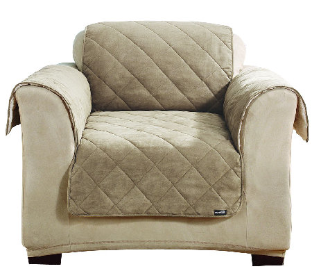 Sure fit reversible faux suede sherpa chair furniture for Furniture covers with pockets