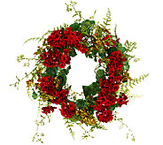 Geranium and Berry 24-inch Wreath by Valerie - H204783