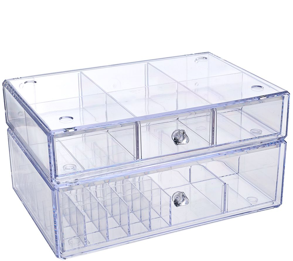 Set of 2 Clear Stacking Cosmetic Organizers by Lori Greiner Page 1