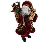 As Is Dennis Basso 20 Talking Santa Claus with Faux Fur Trim - H212083