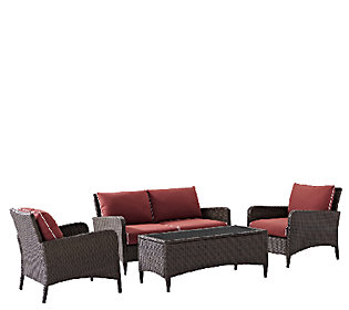 Crosley Kiawah 4 Piece Wicker Seating Set withCushions