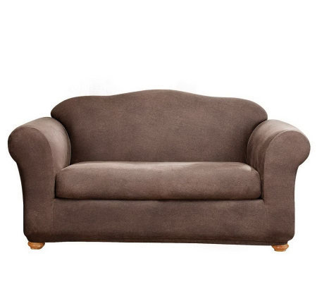 Sure fit stretch faux leather two piece sofa slipcover for Sure fit stretch sofa cover